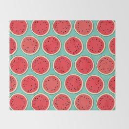watermelon polka mint Throw Blanket