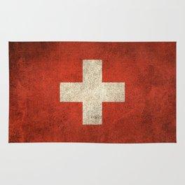 Old and Worn Distressed Vintage Flag of Switzerland Rug
