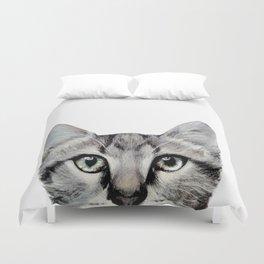 Cat, American Short hair, illustration original painting print Duvet Cover