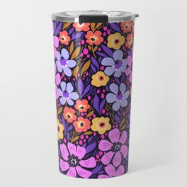 09 Anazing Floral pattern. Dark blue background. Lilac flowers. Travel Mug