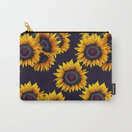 Sunflowers yellow navy blue elegant colorful pattern Carry-All Pouch