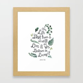 life is wonderful watercolor quote  Framed Art Print
