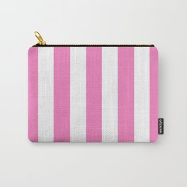 Persian pink - solid color - white vertical lines pattern Carry-All Pouch