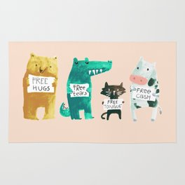 Animal idioms - its a free world Rug