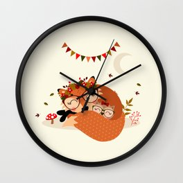Renarde et chouette endormies Wall Clock