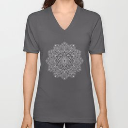 Watercolor White Mandala Illustration Pattern Unisex V-Neck