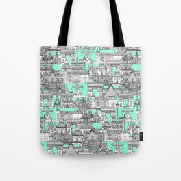 Paris toile aquamarine Tote Bag