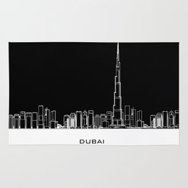 Dubai Skyline - Black Base Rug