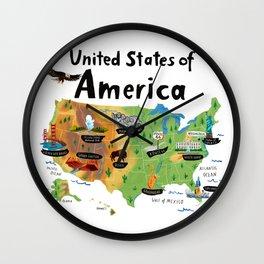 Map of USA Wall Clock