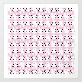 Super Cute Kawaii Bunny and Panda (Pink) Art Print
