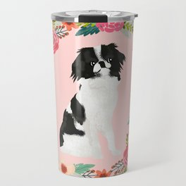 japanese chin floral wreath dog breed pet portrait pure breed dog lovers Travel Mug