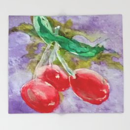 Red Cherries on Purple watercolor by CheyAnne Sexton Throw Blanket