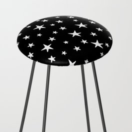 Stars - White on Black Counter Stool