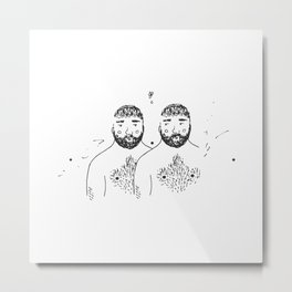 twins with forests on their chins and chests Metal Print
