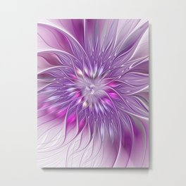Pink Flower Passion, Abstract Fractal Art Metal Print