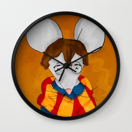 Morris the mouse wearing a scarf Wall Clock