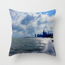 When Sandy Made Waves in Chicago #4 (Chicago Waves Collection) Throw Pillow