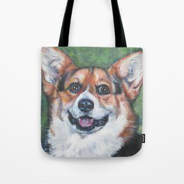 Pembroke Welsh Corgi dog portrait painting by L.A.Shepard fine art Tote Bag