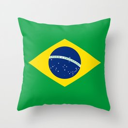 Flag of Brazil - Hi Quality Authentic version Throw Pillow