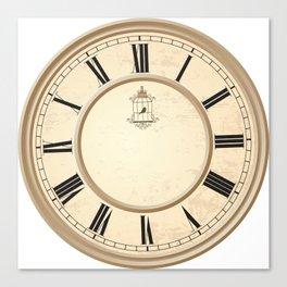 Classy Vintage Birdcage Decorative Clock Canvas Print