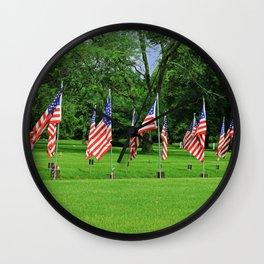 Flags Flying in Memoriam Wall Clock