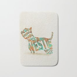 West Highland White Terrier Typography Art / Watercolor Painting Bath Mat