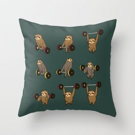 OLYMPIC LIFTING SLOTHS Throw Pillow