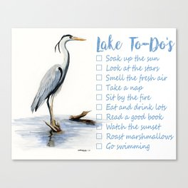 Lake to-do list, cottage sign Canvas Print