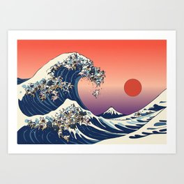 The Great Wave Of  French Bulldog Art Print