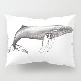 Humpback whale black and white ink ocean decor Pillow Sham
