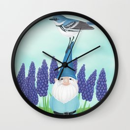 gnome with cerulean warbler and grape hyacinths Wall Clock