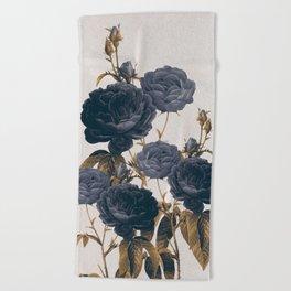 blue flowers Beach Towel