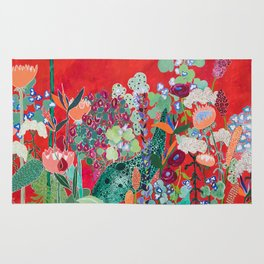 Floral Jungle on Red with Proteas, Eucalyptus and Birds of Paradise Rug