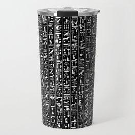 Hieroglyphics B&W INVERTED / Ancient Egyptian hieroglyphics pattern Travel Mug
