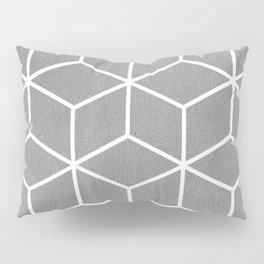 Light Grey and White - Geometric Textured Cube Design Pillow Sham