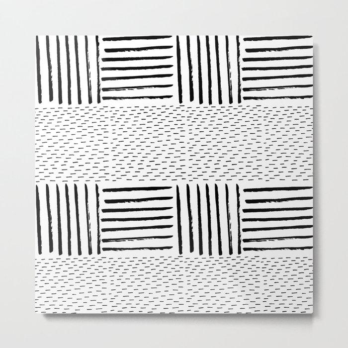 Black white watercolor modern brushstrokes pattern Metal Print