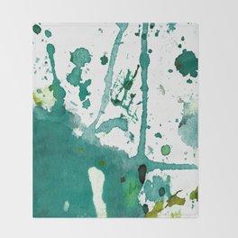 emerald green splash Throw Blanket