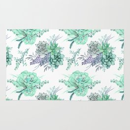 Succulents Mint Green Lavender Lilac Violet Pattern Rug