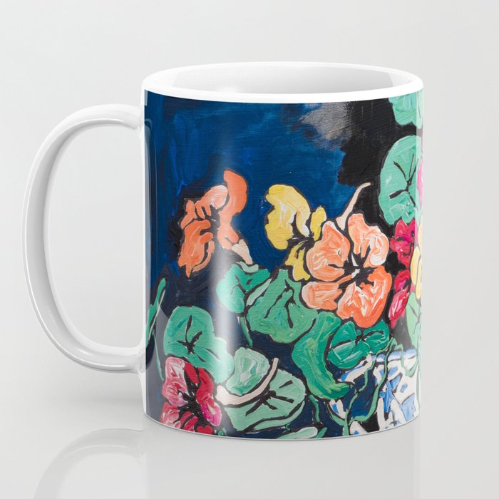 Nasturtium Bouquet in Chinoiserie Bowl on Dark Blue Floral Still Life Painting Coffee Mug