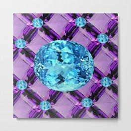 BLUE AQUAMARINES & PURPLE AMETHYST BIRTHDAY GEMS Metal Print