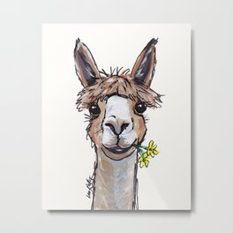 Lycoming the Alpaca, Alpaca Art Metal Print