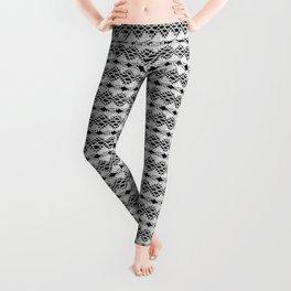 White Lace on Black Background Leggings