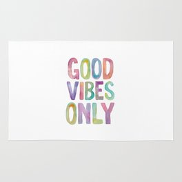 Good Vibes Only Watercolor Rainbow Typography Poster Inspirational childrens room nursery Rug