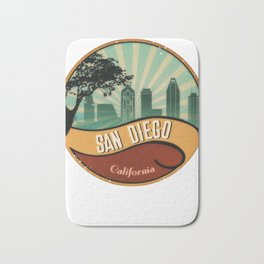 San Diego City Skyline California Retro Vintage Design Bath Mat