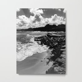 Dramatic black and white photo of Monterey Bay Metal Print