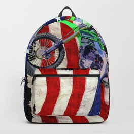 High Flying Freestyle Motocross Rider & US Flag Backpack