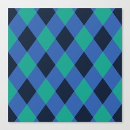 Green and blue checkered Canvas Print