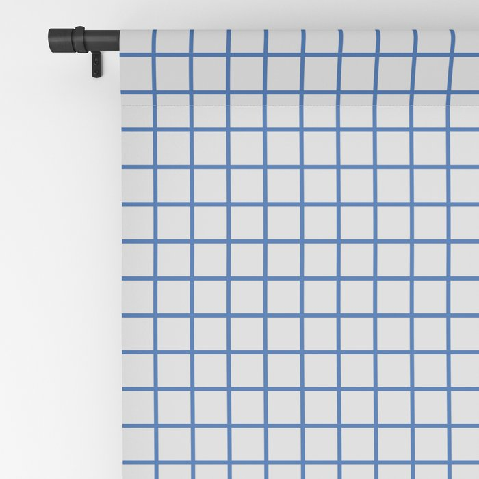 Blue grid pattern on ice grey Blackout Curtain