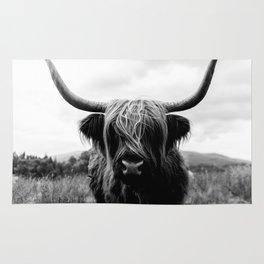 Scottish Highland Cattle Black and White Animal Rug