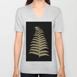 Fern Leaf Gold on Black #1 #ornamental #decor #art #society6 Unisex V-Neck